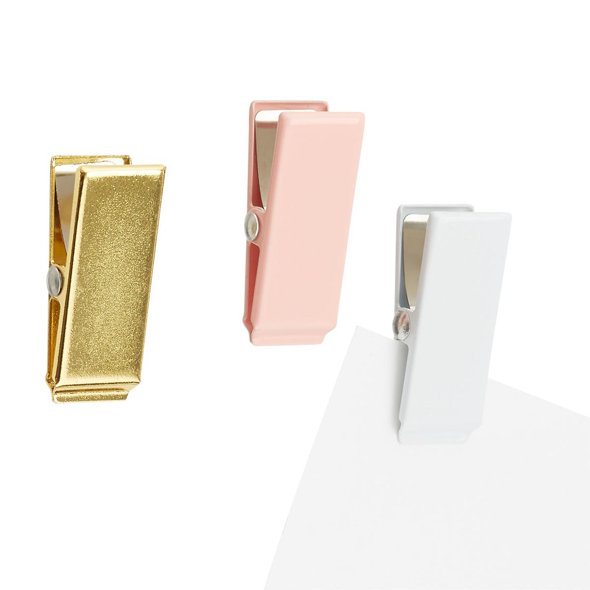Gold, Blush and White Mini Clipper Magnets, Package Of 3, $1.99. Container Store