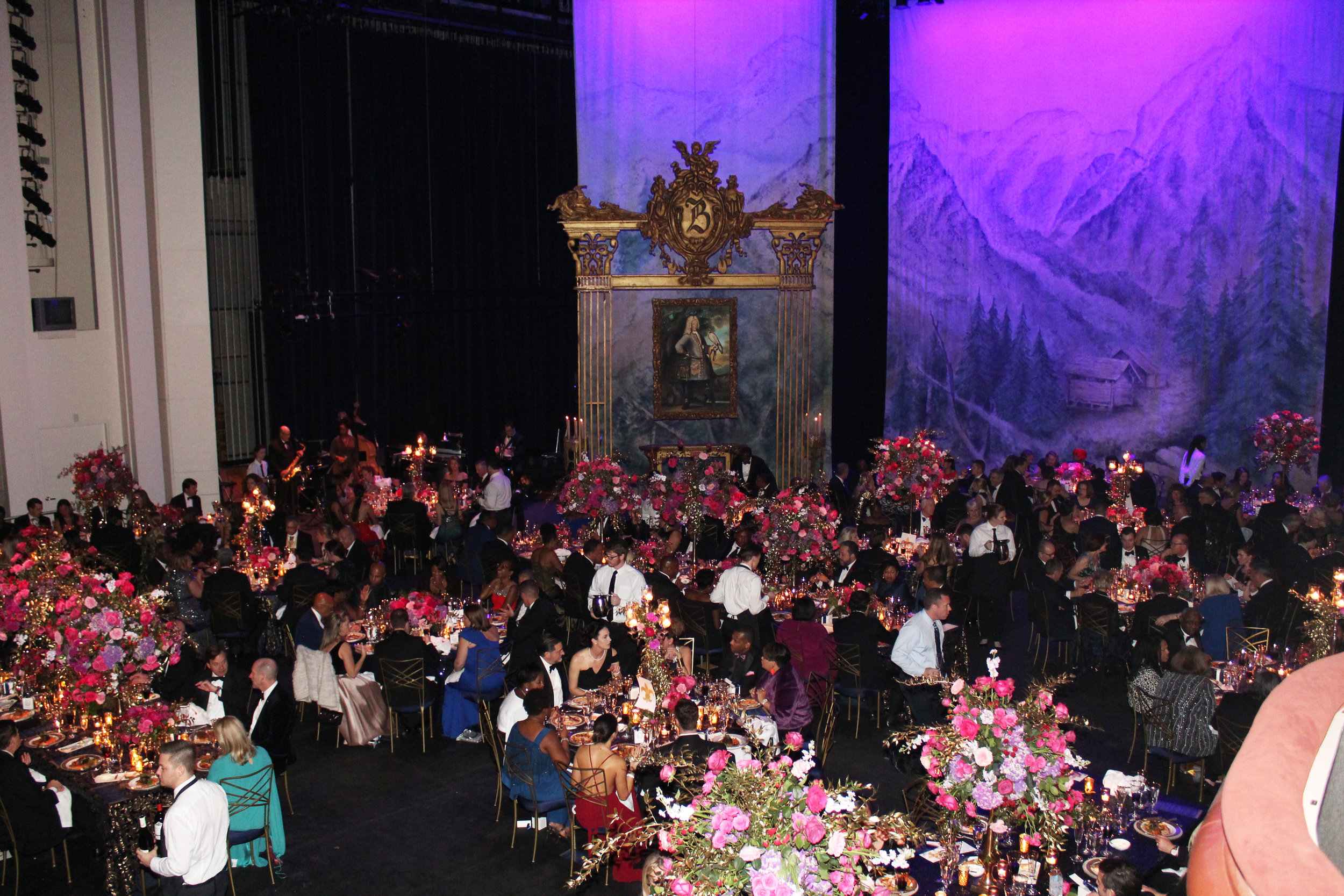 Gorgeous decor from John Lupton Events amid the scenery for Opera Carolina's season opening production of Donizetti's  Daughter of the Regiment