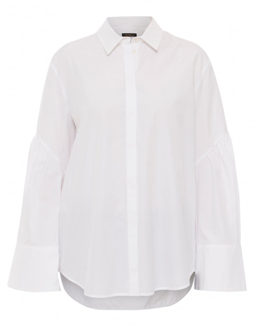 A crisp white button-down that looks great tucked or untucked.  Les Copains White Button Down Poplin Shirt, $465.