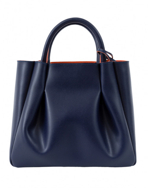 A go-anywhere handbag that's durable yet timeless.  Alexandra de Curtis Midi Ruched Navy Tote, $669.