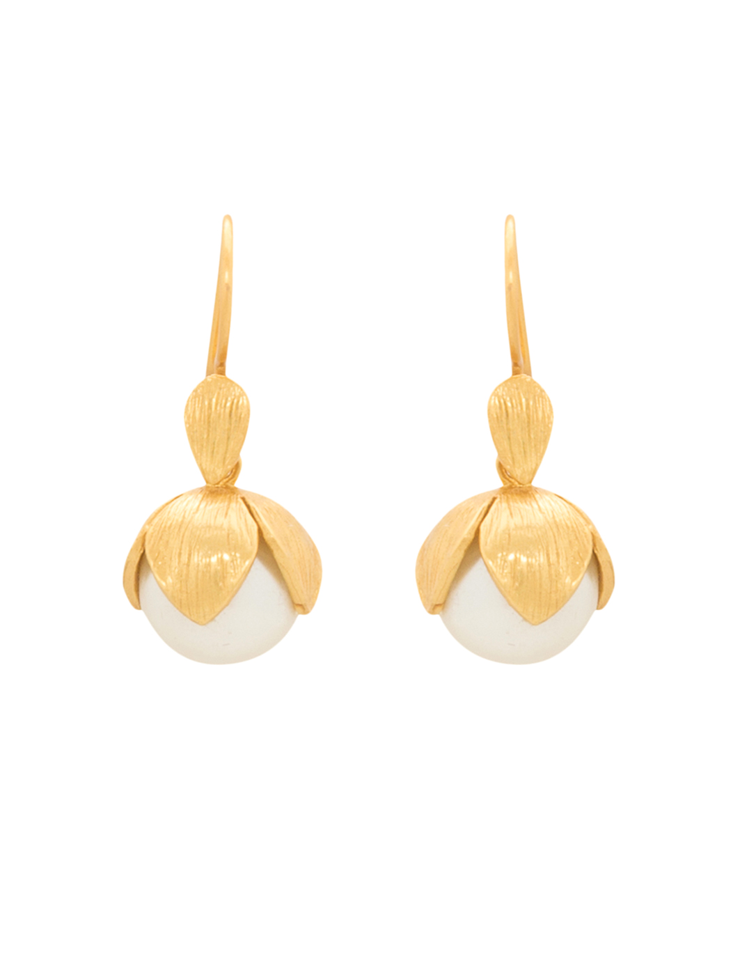 A piece of jewelry that catches the eye and adds interest to any outfit.  Julie Vos Penelope Gold Shell Pearl Earring, $148.