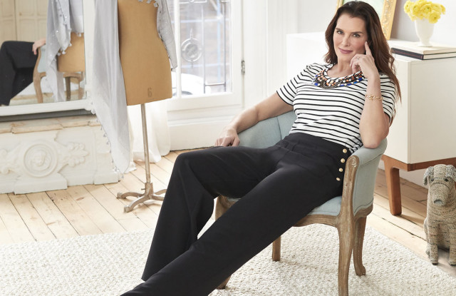 Brooke Shields designed the Short Sleeve Striped Knit Embellished Tee for her Timeless fashion line for QVC.