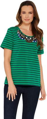 Brooke Shields Embellished Tee in Green.jpg