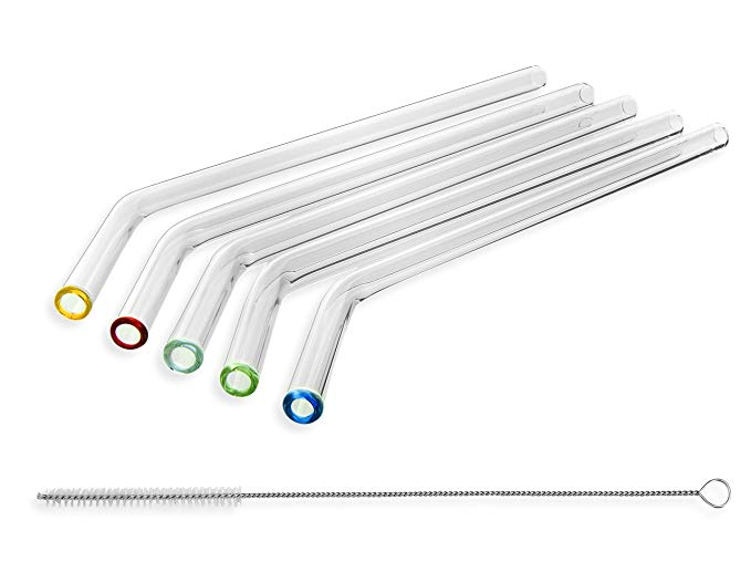 StrawGrace glass straws are handmade, break-resistant, dishwasher-safe and come with a cleaning brush. $13.57 for a set of 5.   amazon  .