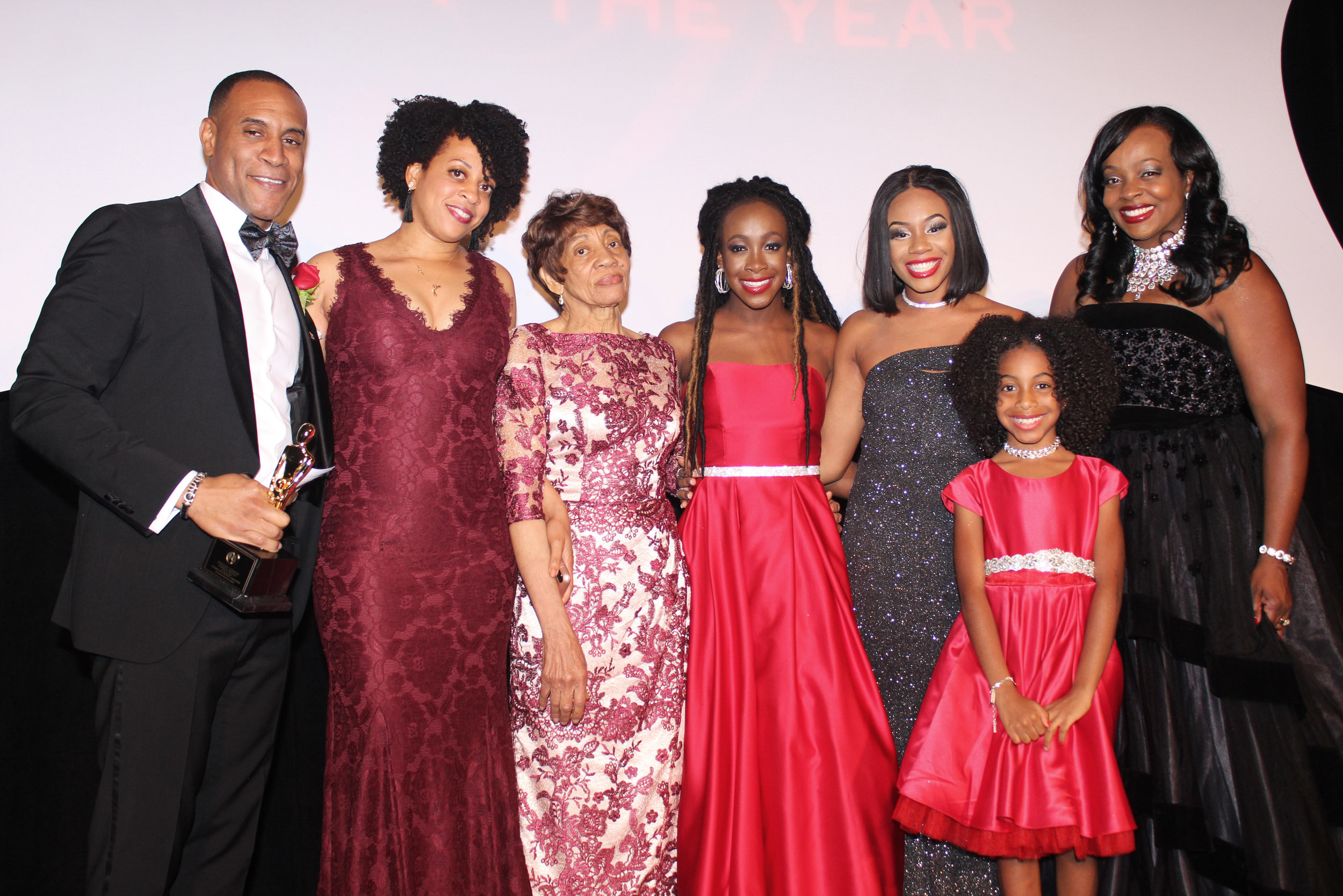 Father of the Year Dwight Gibson surrounded by his family.