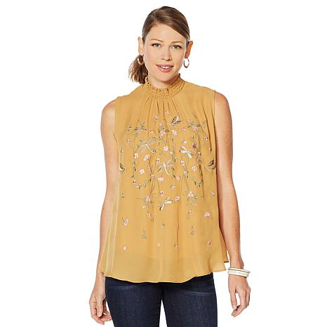 Embroidered Mock Neck Blouse in Tan, $69.90. Also available in Indigo and Turquoise.