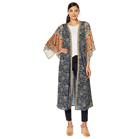 Printed Kimono Duster in Navy Multi, $89.25. Also available in Burnt Orange Multi.