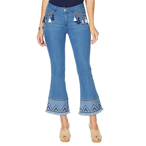 Tassel Embroidered Flair Jean in Chambray, $86.50. Also available in Indigo.