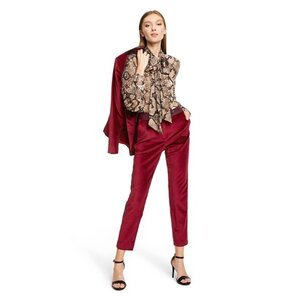 Altuzarra Snake Print Long Sleeve Tie Neck Blouse, $30; Velvet Blazer, $55; and Velvet Straight Leg Ankle Pants, $40.
