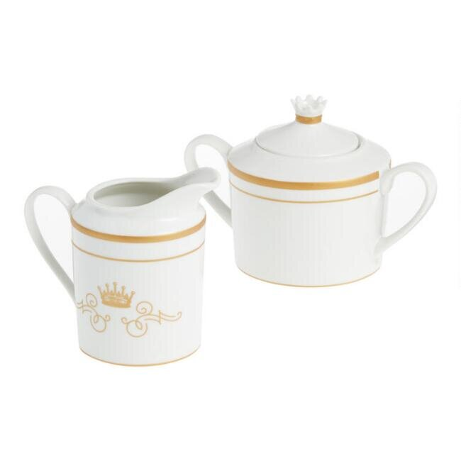 White and Gold Downton Abbey Creamer and Sugar Bowl Set, $19.99.