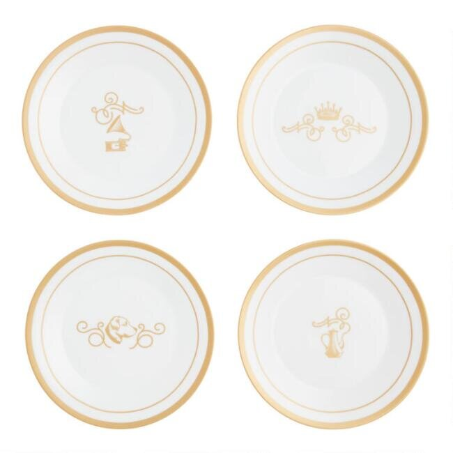 White and Gold Downton Abbey Plates, set of four, $29.99.