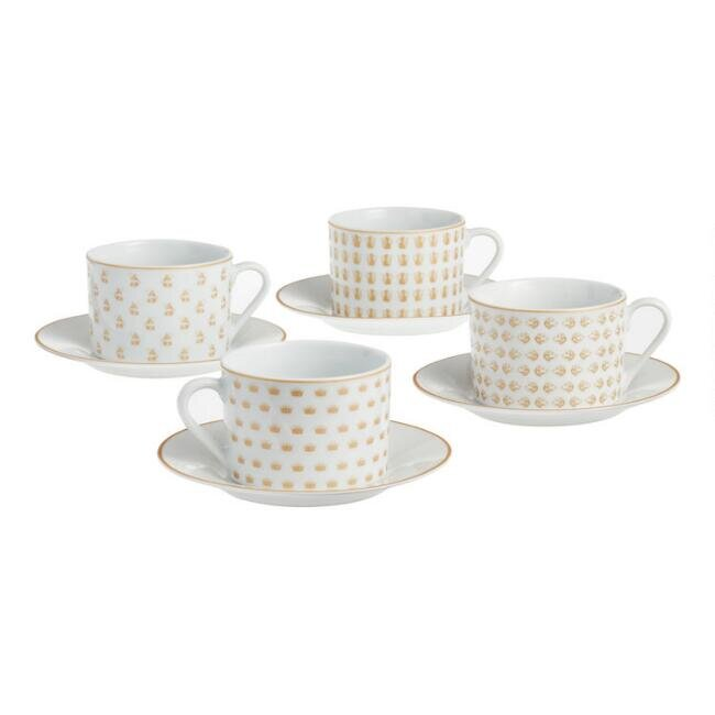White and Gold Downton Abbey Teacups and Saucers, set of four, $35.96.