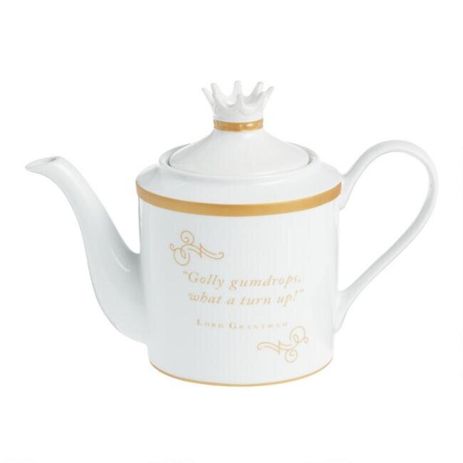 White and Gold Downton Abbey Teapot, $19.99.