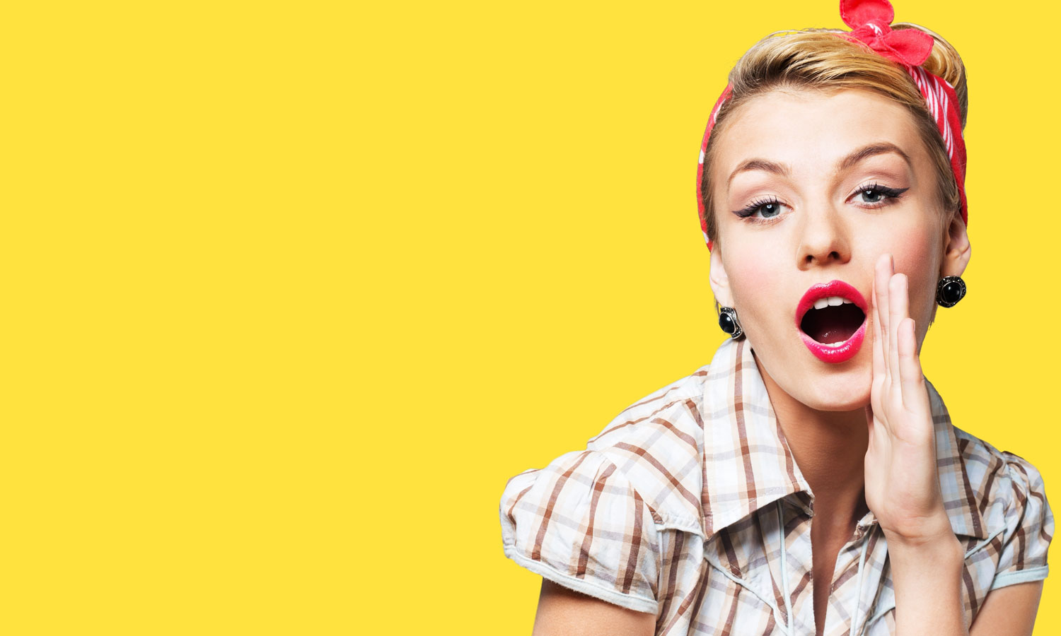 1950's Pin Up girl on yellow background with red bow