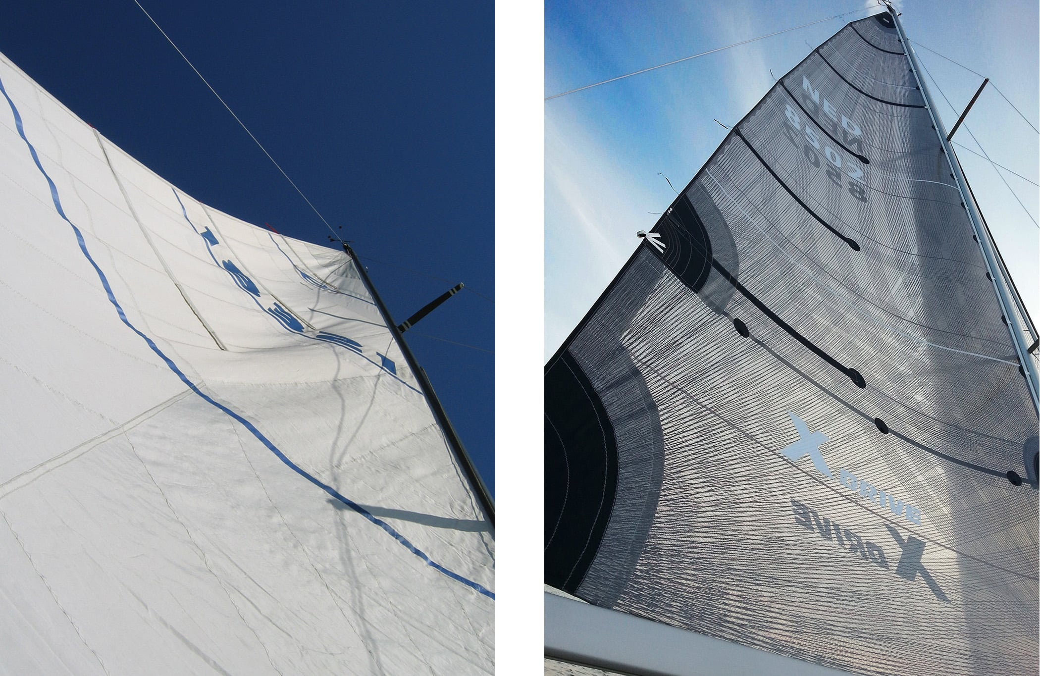 A blown out mainsail on the   left  shows distortion wrinkles and the draft point too far aft, both of which prevent the sail from giving any aerodynamic lift. Compare it to the sail on the   right  , which is a smoother,perfectly shaped X-Drive sail.