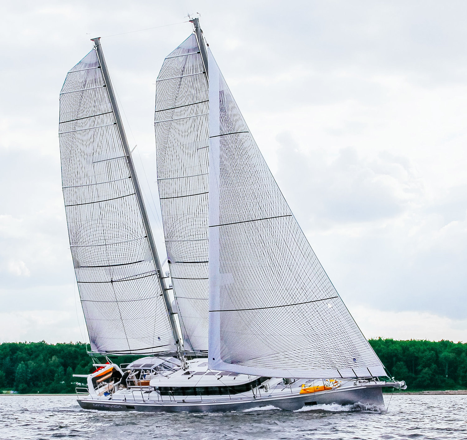 Berckemeyer Yacht Design's 70-foot schooner with full-batten Spectra Tape-Drive mains and a roller/reefing genoa. Photo courtesy     Berckemeyer Yacht Design