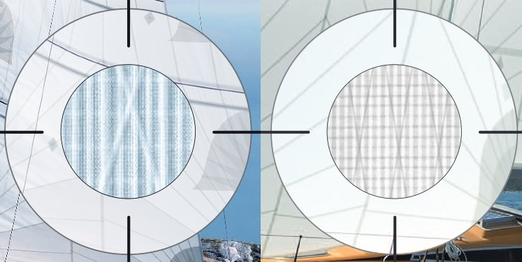 Close-ups of Dimension Polyant's Spectra cruising laminates, which include strong warp-oriented Spectra yarns and X-Ply yarns laminated between two layers of Mylar and a Taffeta covering one side of the laminate.