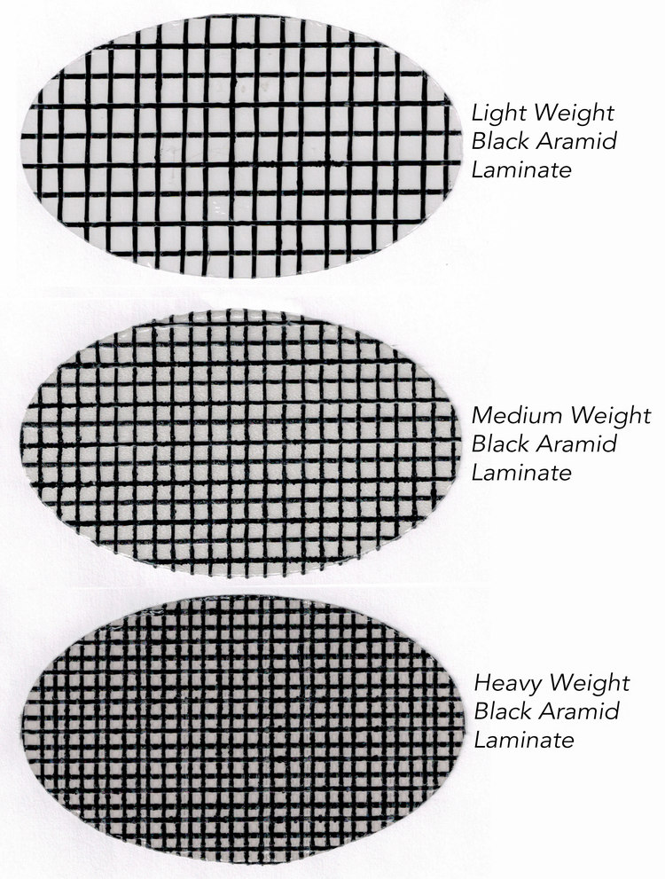 Three different weights of black aramid laminate made by Dimension Polyant for Tape-Drive sails. The lightweight material is used for small boats or light wind genoas. The medium weight laminate can be used for mainsails up to 45 feet, while the heavy material is used for heavy air jibs and offshore mainsails.