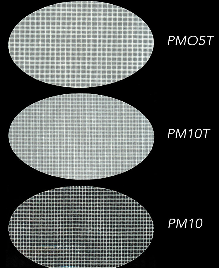 Three different styles of polyester laminates made by Dimension Polyant for Tape-Drive sails.