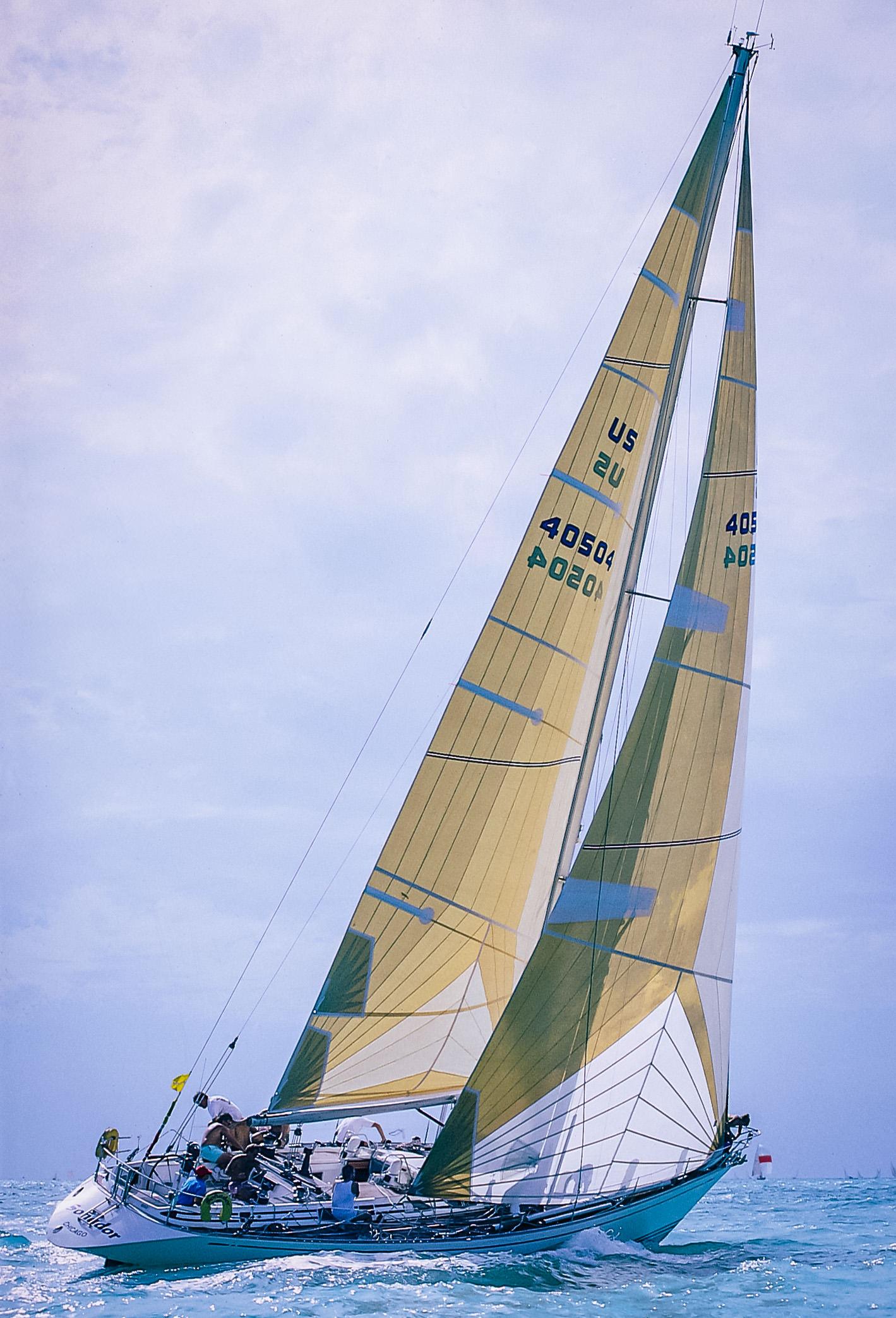 A Swan 53 sailing with aramid tri-radial mainsail and genoa.
