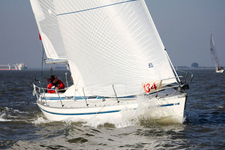 A 31-foot cruiser-racer with a set of Tape-Drive silver sails.  Click to enlarge.