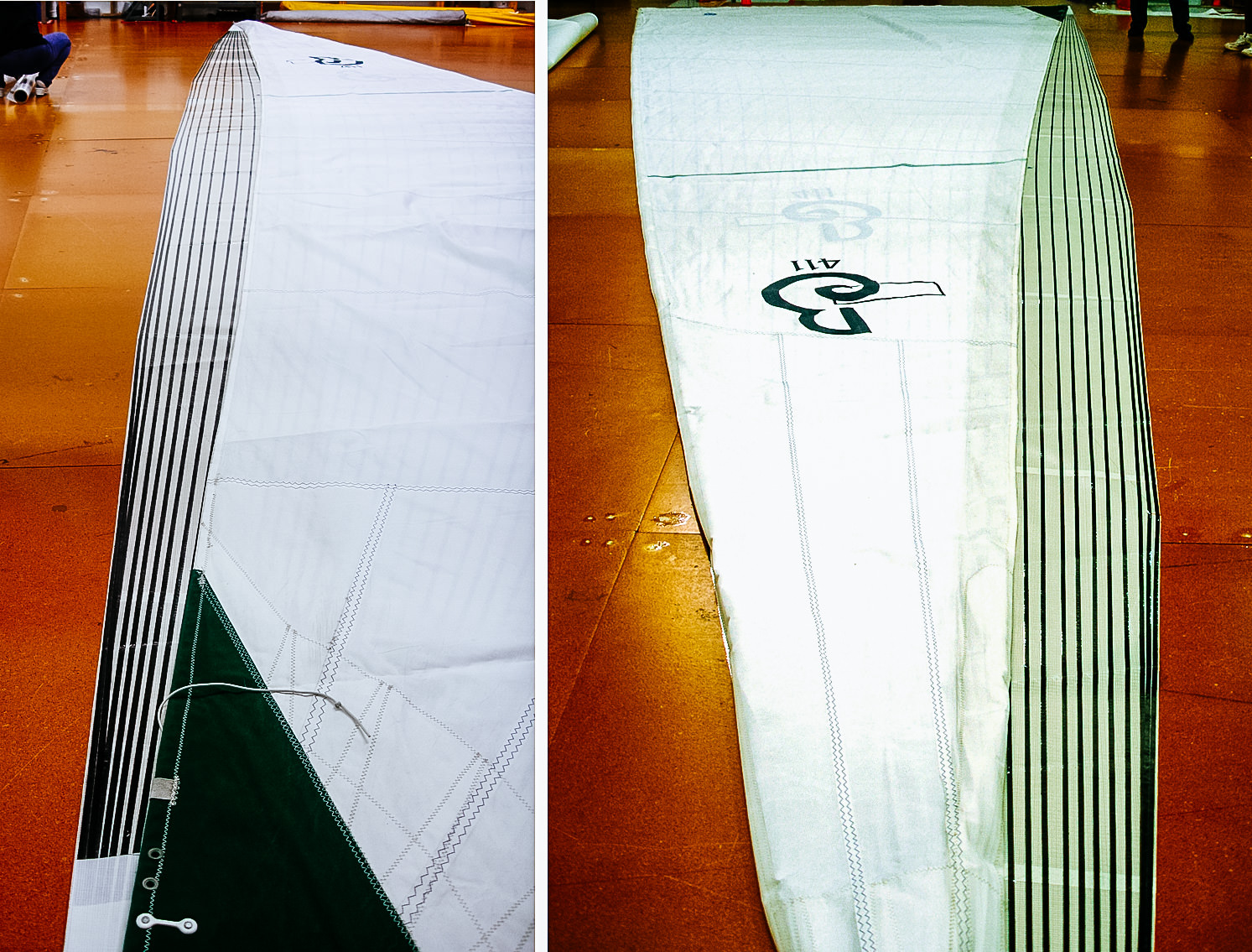 The pictures above illustrate how much bigger a vertical batten roller-furling mainsail is compared to a concave leech batten-less main. In the pictures, the Dacron batten-less main for a Beneteau 411 is laying over its partially finished replacement main, which is a vertical batten Tape-Drive sail.