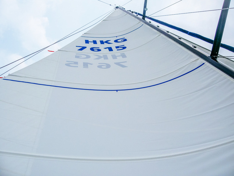 Contrasting draft stripes help sail trimmers see the aerodynamic shape of the sail.