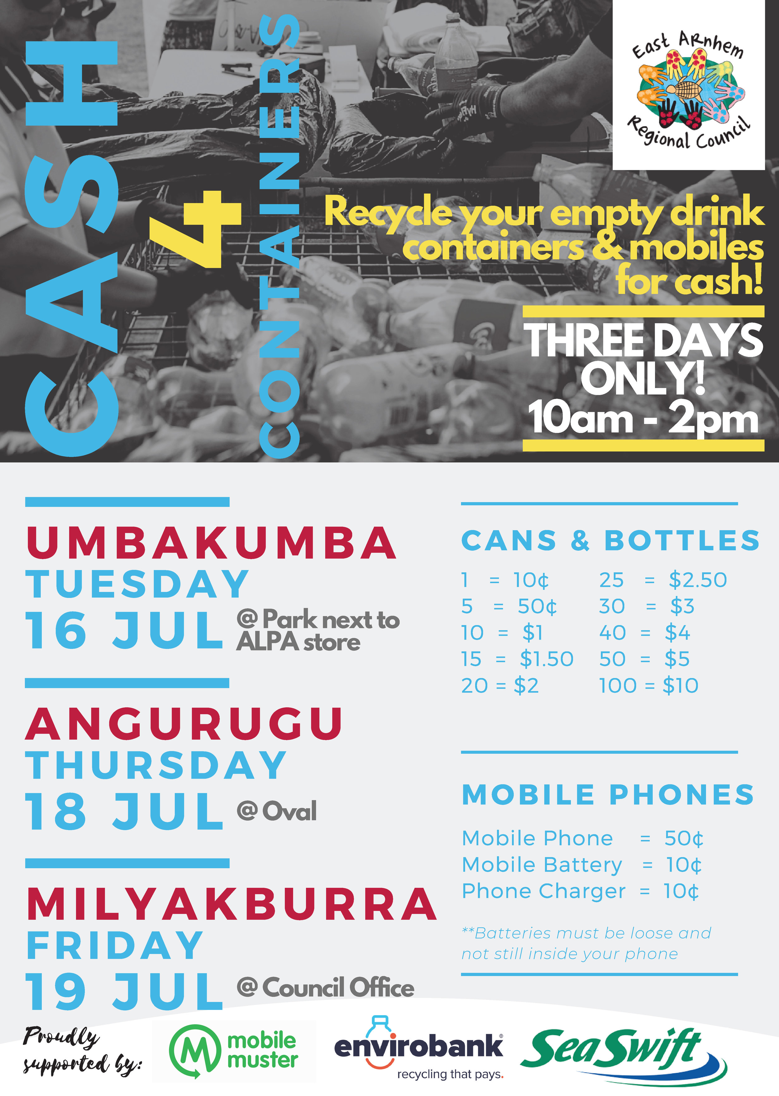 3 DAYS ONLY - CASH 4 CONTAINERS MILYAKBURRA