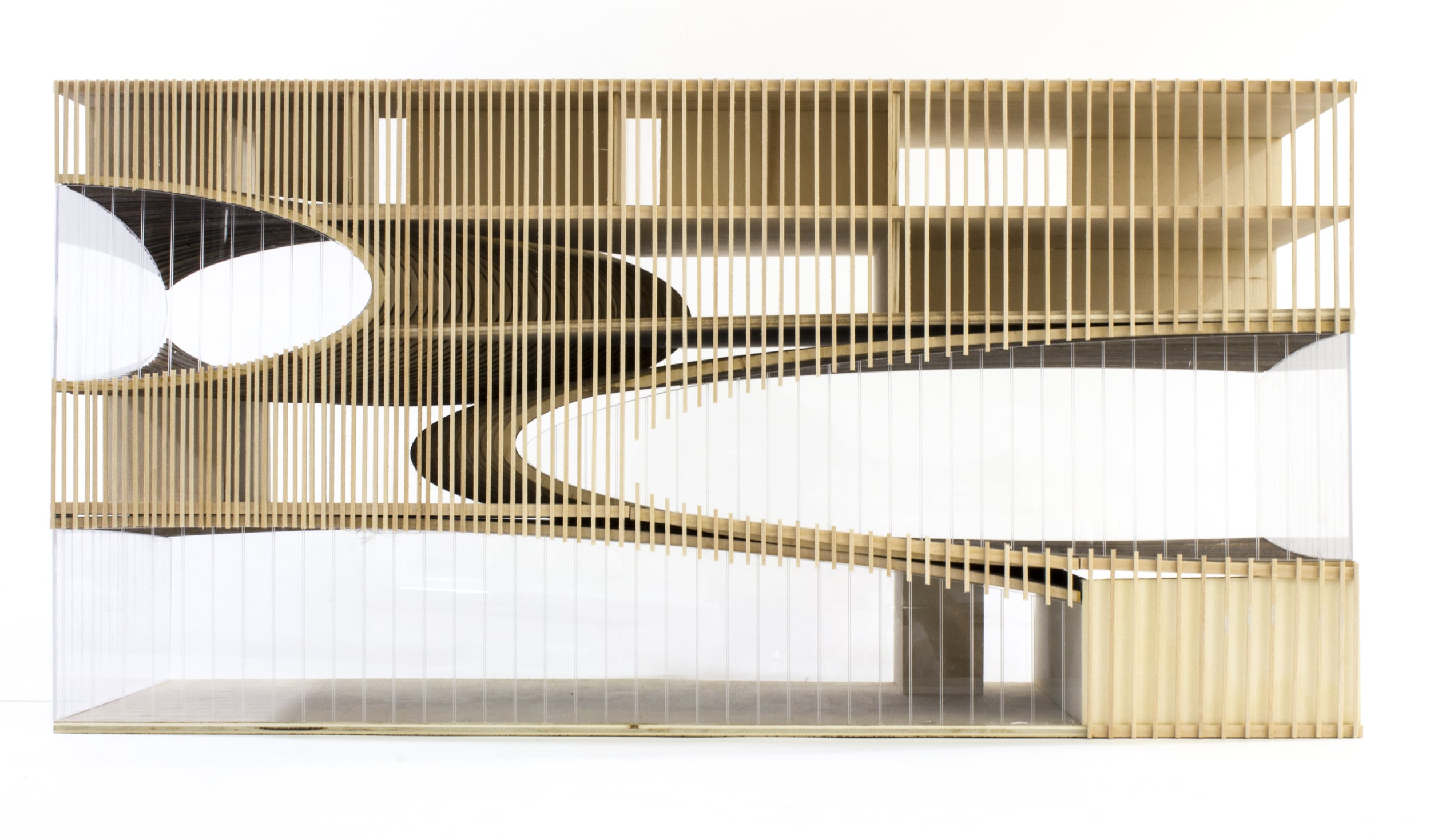 "Sectional model at 3/16"" = 1'. Ellipsoids are constructed from laminated plywood. Vertical walls and exterior louvers are constructed from basswood."