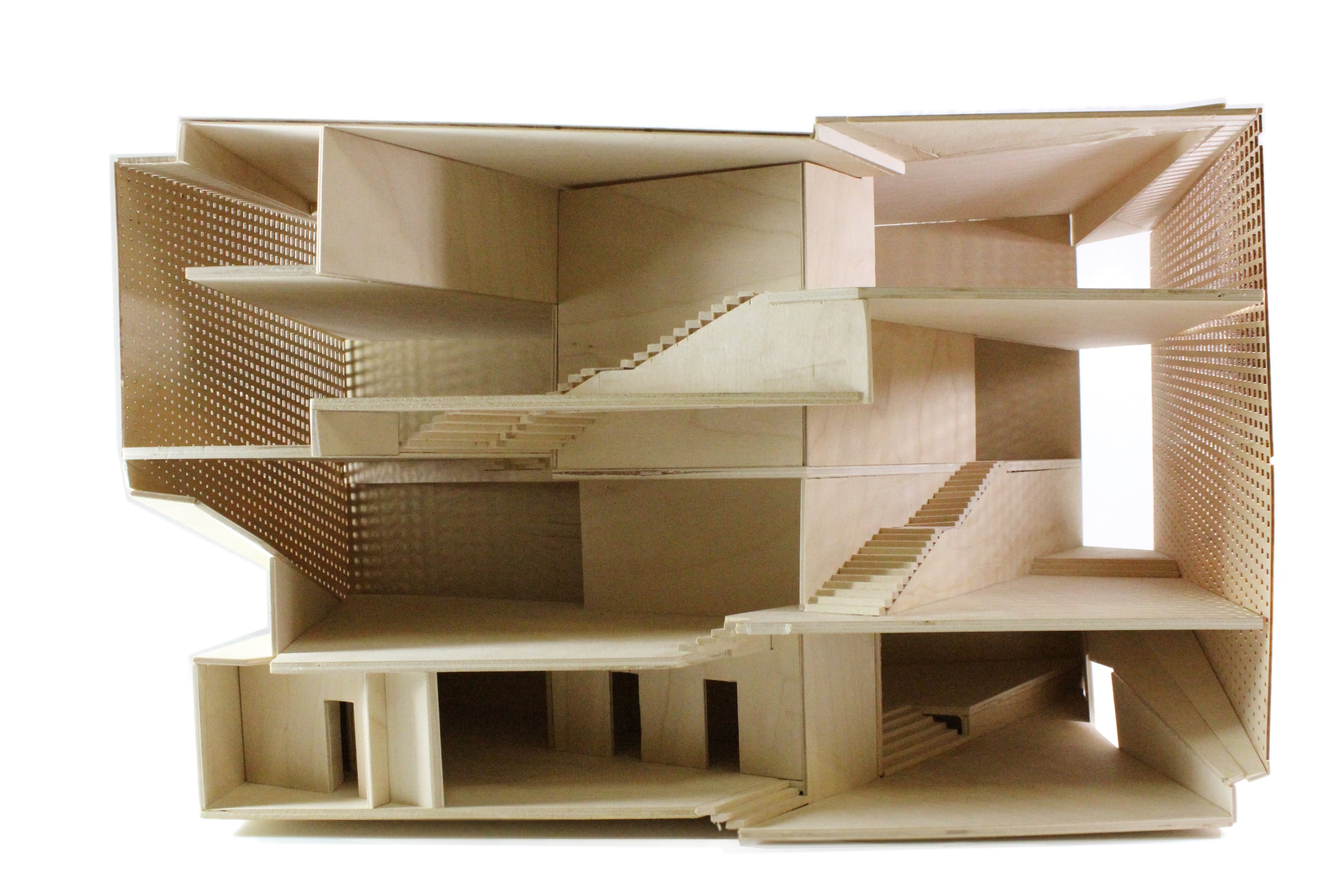 "Sectional model at 3/16"" = 1'. Model was constructed with saw-cut plywood. Facade was made from lasercut basswood."