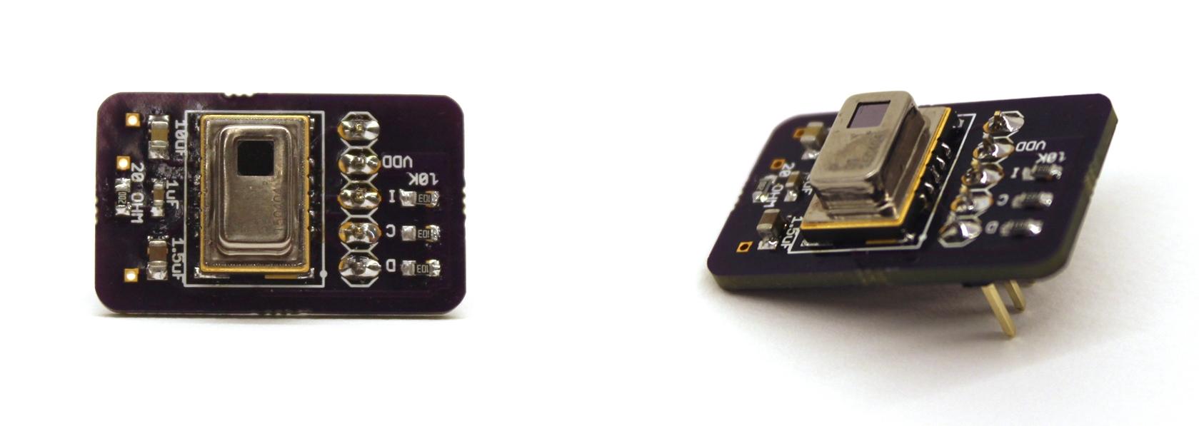 Infrared array sensor and its custom PCB.