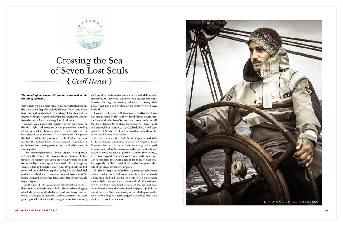 Photograph of Sam Dubois at the helm of the  Tecla ,by Jeff Herriot with toning by Richard Goodwin