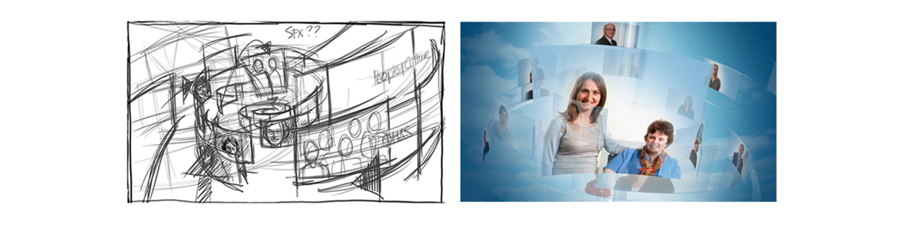 The before and after scribble for a CGI execution within the AHC Induction video.