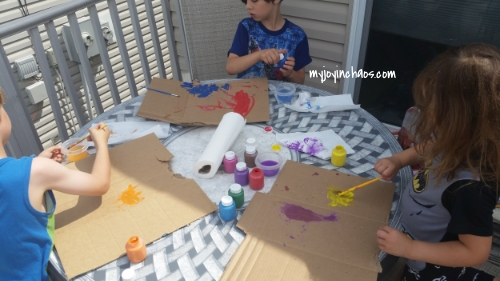easiest art project with washable paint and cardboard