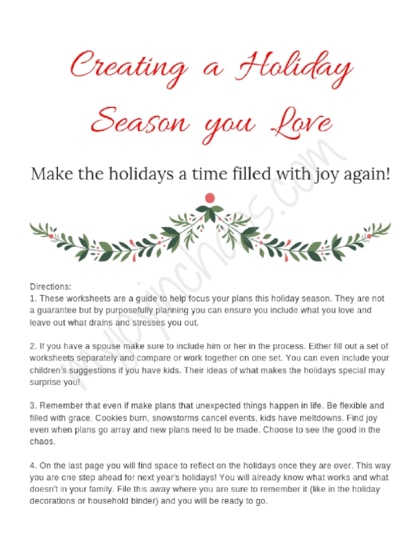 holiday planner opening page