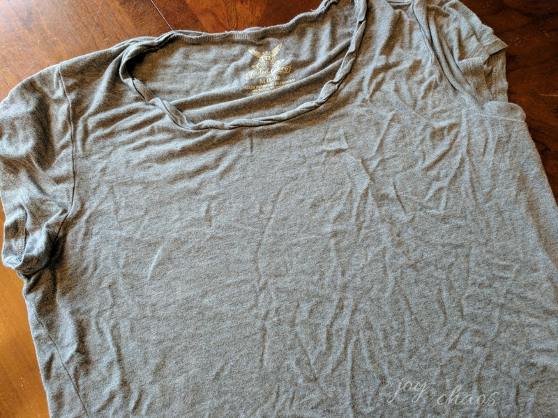 grey shirt with grease stains removed