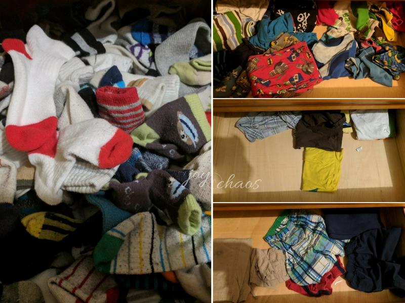 kid drawers before decluttering