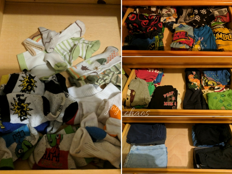 kid drawers after decluttering