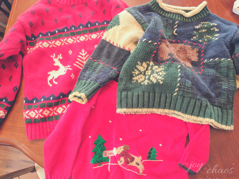 christmas clutter ugly sweaters