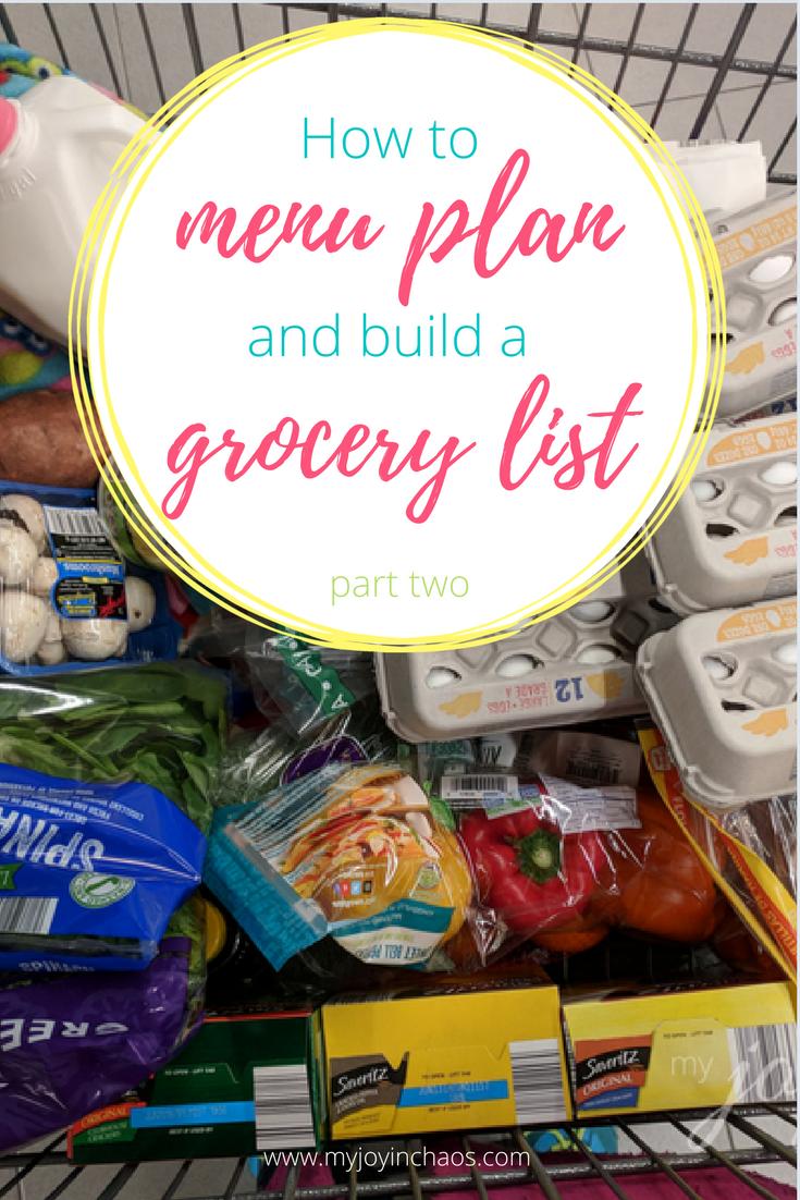how to menu plan grocery list