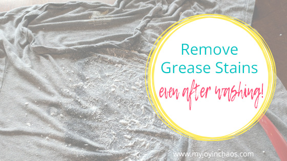 shirt with grease stains and easy grease stain remover