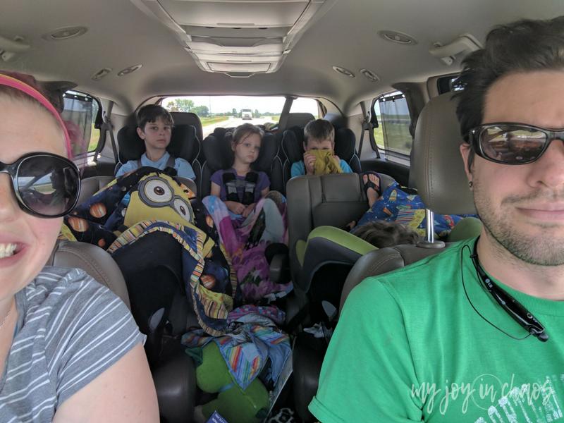 family of seven in van