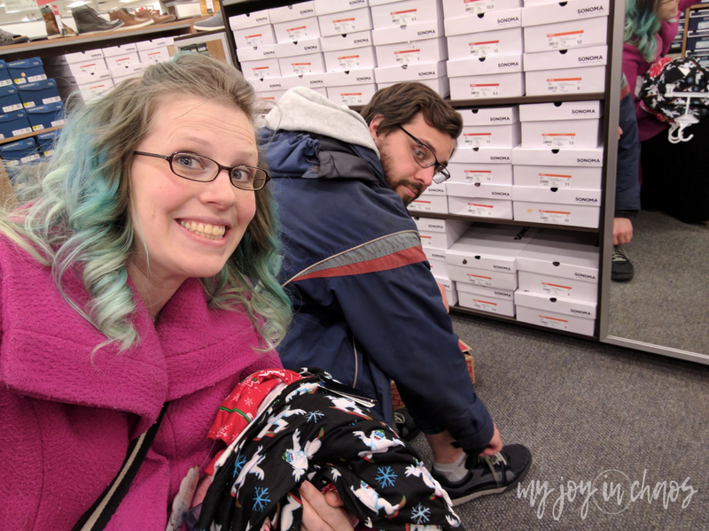 husband and wife at shoe store