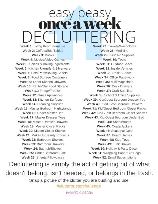 Decluttering challenge printable checklist