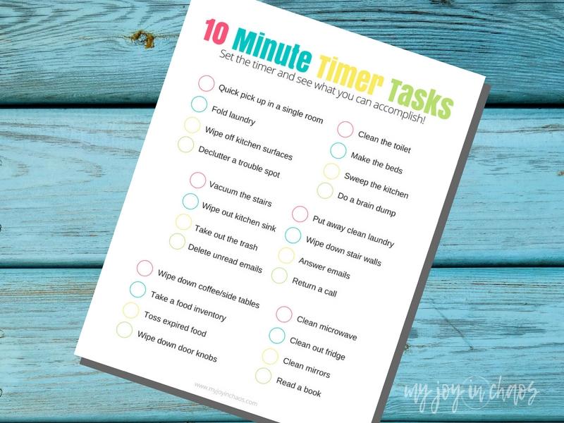 10 minute timer tasks printable