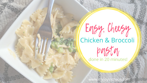 This dish comes together in less than 30 minutes - often less than 20! Homemade mac n cheese with broccoli and chicken makes this a one bowl dinner sure to please kids and adults. #macandcheese #20minutemeal #easydinner #frugalmeal #homemade #pasta