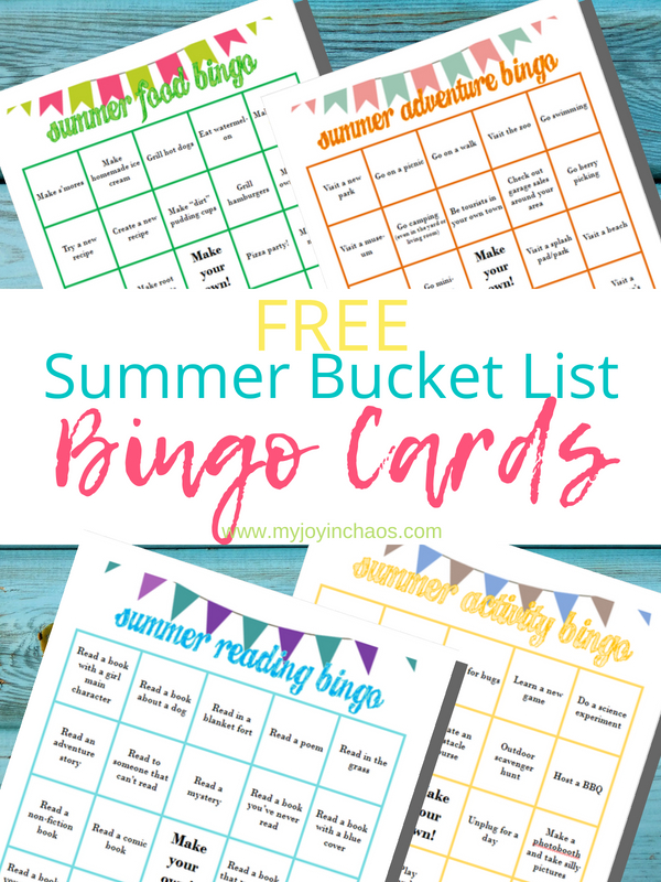 Free printable summer bucket list bingo cards - can you hit five in a row? What about a coverall? Keep boredom at bay this summer with this great game worth of ideas.