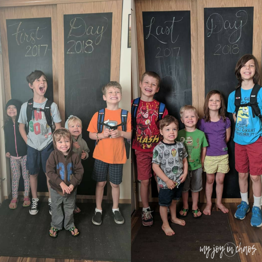 last day of school photo with chalkboard