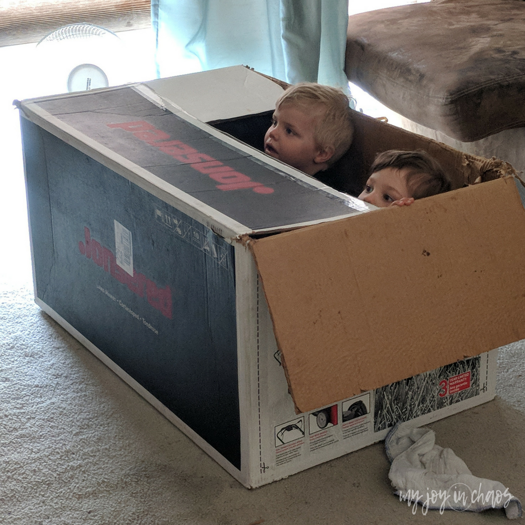 watching a movie in a box - easy preschool ideas