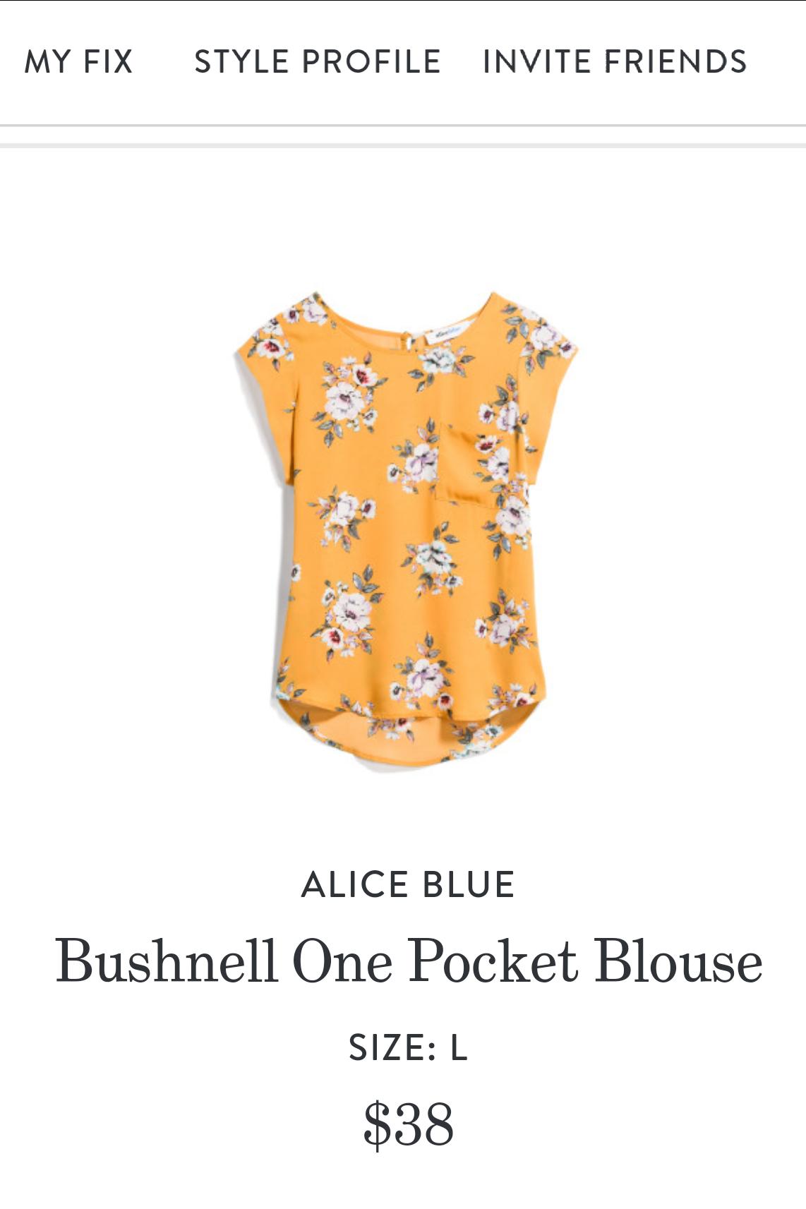 Alice Blue Bushnell One Pocket Blouse